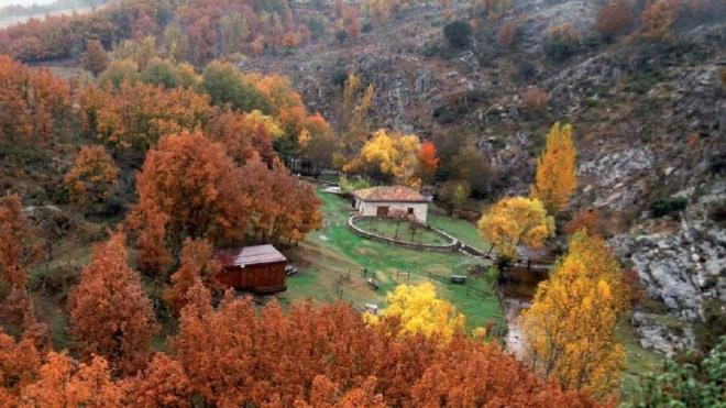 La Hiruela, bosques naranjas de Otoño, Sierra del Rincón